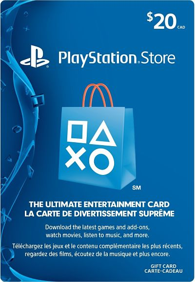 20 playstation store gift card canada prepaidgamercard. Black Bedroom Furniture Sets. Home Design Ideas